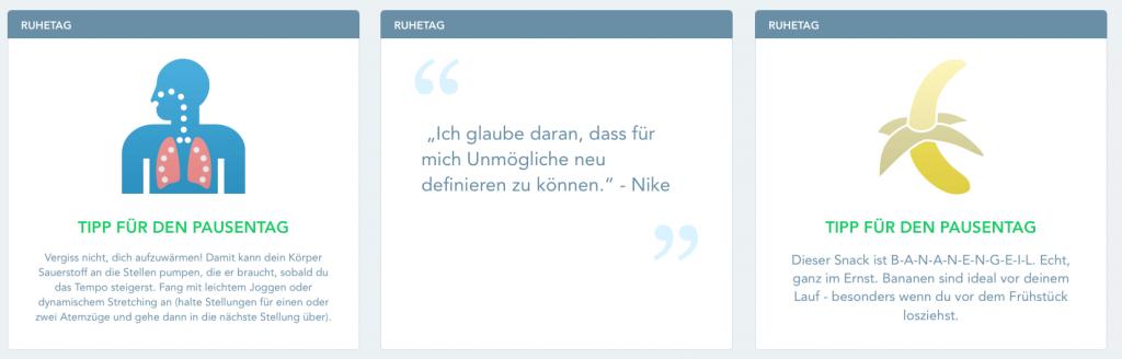 An trainingsfreien Tagen versorgt euch RunKeeper mit hilfreichen Tipps. Hier drei Beispiele